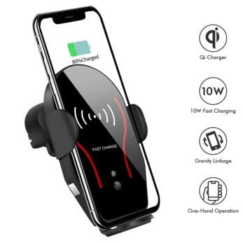 Wireless Car Charger, Qi Fast Charging Phone Holder