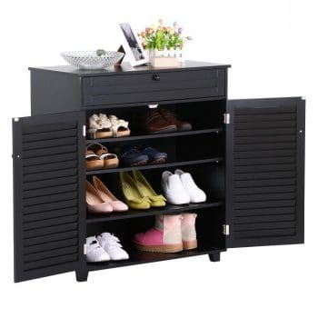 Yaheetech Shoe Cabinet with One Drawer, Black