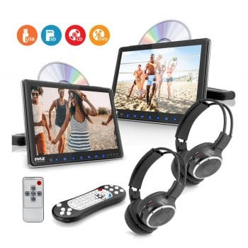 Pyle Universal DVD Player - 9.4 Inch with HDMI, Wireless Headphones and Mounting Bracket