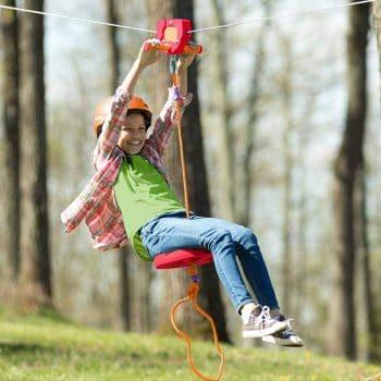 HearthSong 80' Red Backyard Zipline Kit