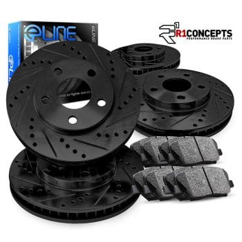 Complete Kit Black Drill/Slot Brake Rotors & Ceramic Pads