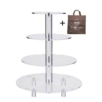 Jusalpha 4 Tier Acrylic Glass Round Cake Stand