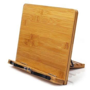 wishacc Bamboo Adjustable Book Holder Tray