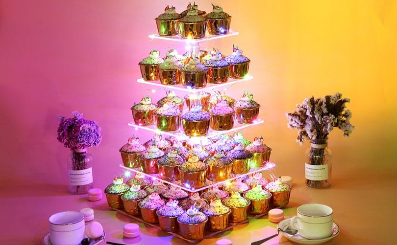 Wedding Birthday Party Celebration VILAVITA 2-Set Modern Cake Stands Round Cake Stand Cupcake Stands for Baby Shower Gold