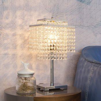 FERWVEW Modern Crystal Table Lamp