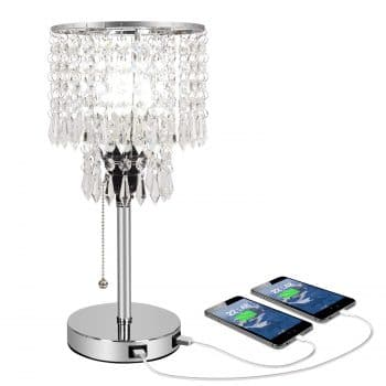 Acaxin Silver Crystal Bedside Table Desk Lamp