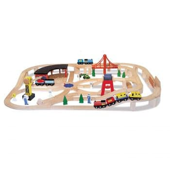 Melissa & Doug 130-Pieces Wooden Railway Set