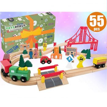 ToysOpolyDeluxe 55 Pcs Wooden Train Set
