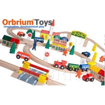Orbrium 100-Piece Triple-Loop Wooden Toys Train Set