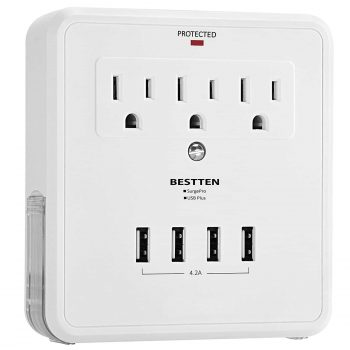BESTTEN USB Outlet Surge Protector