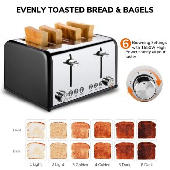 Toaster 4 Slicer, CUSIBOX Stainless Steel Toaster