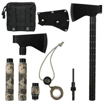 iunio Multi-Tool Camping Axe Hatchet Survival Kit Outdoor17 inch Folding Ax