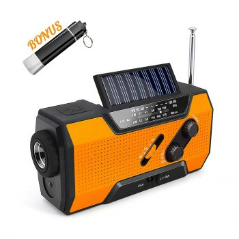Givoust Weather Radio with Flashlight Phone Charger, SOS Alarm