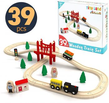 Tiny Land39-Pieces Wooden track toy Train Set