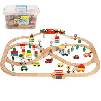 On Track USA 100-Pieces Wooden Train Set