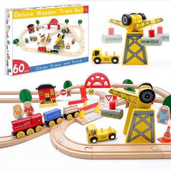 Tiny Land 60 Pcs Wooden Track & Crane Train Set