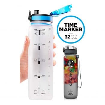 Cactaki 32oz Water Bottle with Time Marker