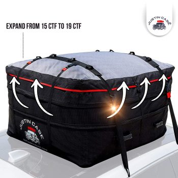 JUSTINCASE Waterproof Rooftop Cargo Carrier Bag, Hooks and Straps Included