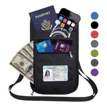 OMYSTYLE Blocking Passport Holder Travel Neck Wallet