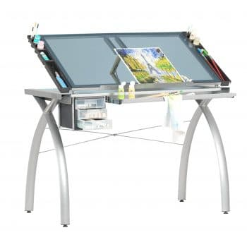SD STUDIO DESIGNS Glass Futura Drawing Table