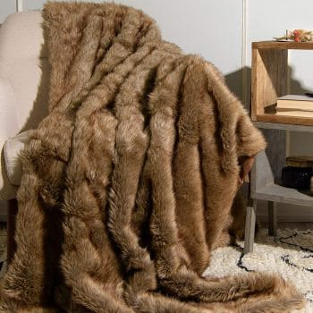 Best Home Fashion Faux Fur Coyote Throw Blanket