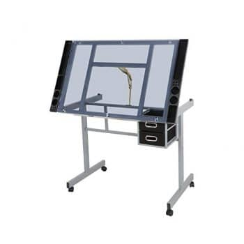 ZENY Glass Top Adjustable Drawing Desk Craft Station