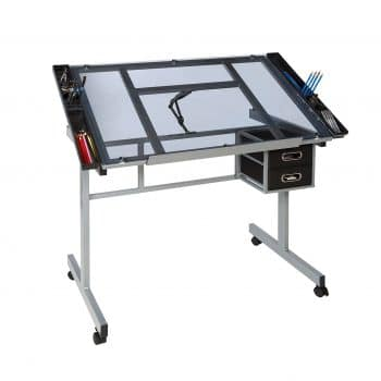 OneSpace Craft Station Glass Drawing Table