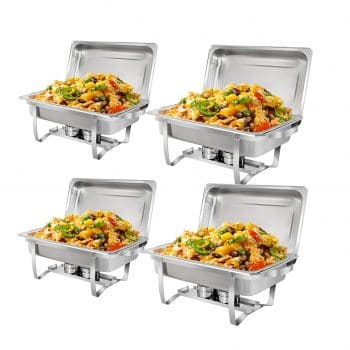 SUPER DEAL 8 Quartz Full-Size Chafing Dishes Pack of 4