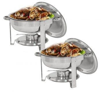 SUPER DEAL 5 Quartz Stainless Steel Chafing Round Dish with Food and Water Pan