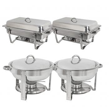 Super Deal Stainless Steel 2 Round 2 Rectangular Chafers