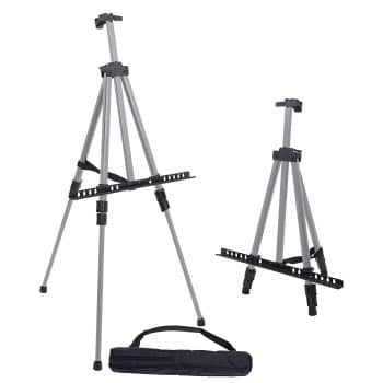 "U.S. Art Supply 66"" Portable Silver Aluminum Artist Easel Stand"