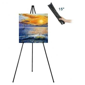 "JIUYE 63"" Tall Instant Display Foldable Black Easel Stand"