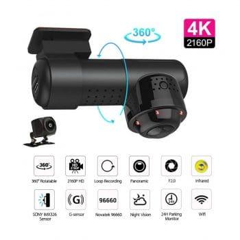 UNITOPSCI Dash Cam 1080P Dual 360° Dash Camera for Cars