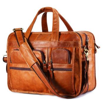 BAIGIO Men's Leather Briefcase