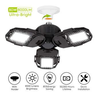 CHAREADA LED Garage Lights - 3 Adjustable Panels
