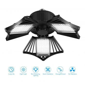 ETS 80-Watts LED Garage Light with Three Adjustable Wings