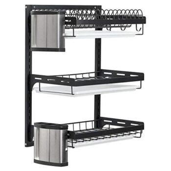 MYOYAY Adjustable Wall Mounted Dish Drying Rack