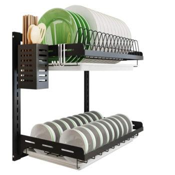 Junyuan 2-Tier Wall-Mounted Dish Drying Rack
