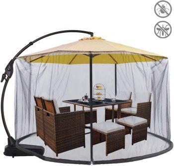Apex Design Umbrella Net Fits 9-11-Ft Umbrella Mosquito Netting Table Screen