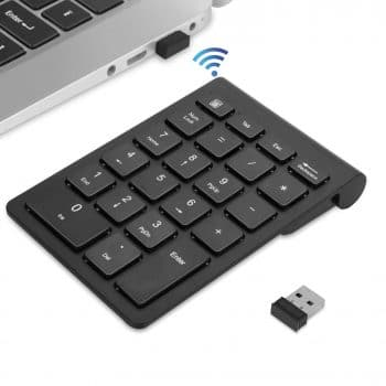 TRELC Mini 2.4G 18 Keys Number Pad Desktop Black PC Wireless Numeric Keypad Notebook Portable Silent Financial Accounting Numpad Number Keyboard Extensions for Laptop