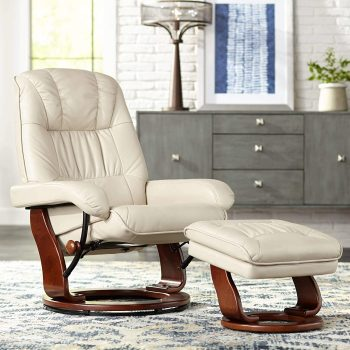 Kyle Taupe Ottoman and Swiveling Recliner