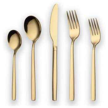 Berglander 20-Piece Titanium Gold Plated Stainless Flatware Set