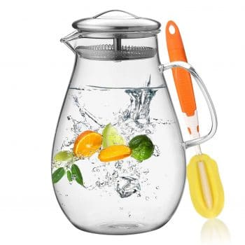HIWARE 64 Ounces Glass Pitcher with Stainless Steel Lid Water Carafe with Handle