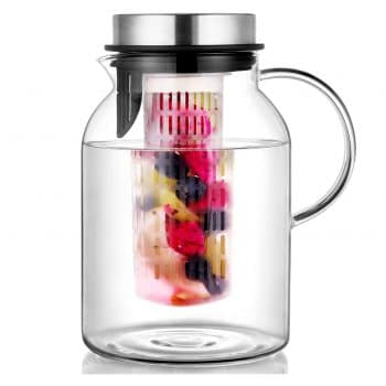 HIWARE Glass Fruit Infuser Water Pitcher with Removable Lid High Heat Resistance Pitcher