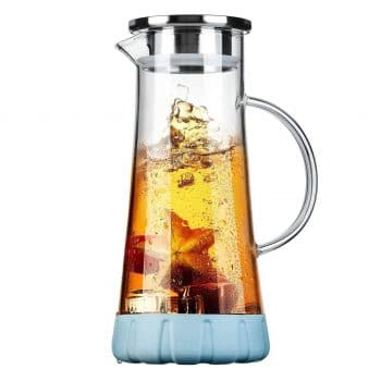 BOQO Glass Water Pitcher, 50 Oz Carafe with Lid, Glass Water Jug