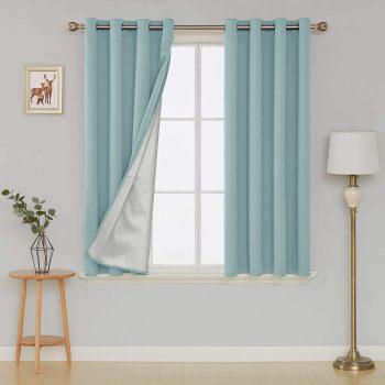Deconovo Grommet Blackout Curtains w Silver Coat