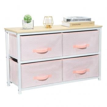 Aingoo Wide Dresser Storage Tower with 4 Fabric Chest Drawers
