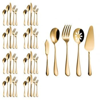 Magicpro Modern Royal 45-Pieces gold Stainless Steel Flatware