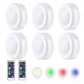 TaoHorse 16 Colors Puck Light Wireless LED with 2 Remote Control (6Pack)