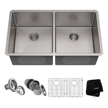 Kraus 33-inch 16 Gauge Double Kitchen Sink